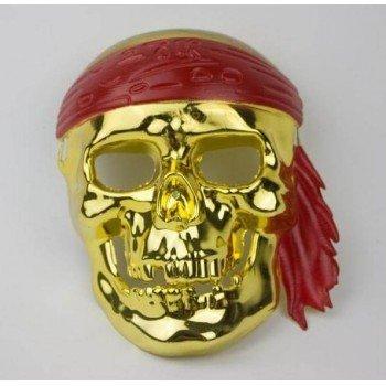 Vyriška auksinė pirato karnavalinė kaukė