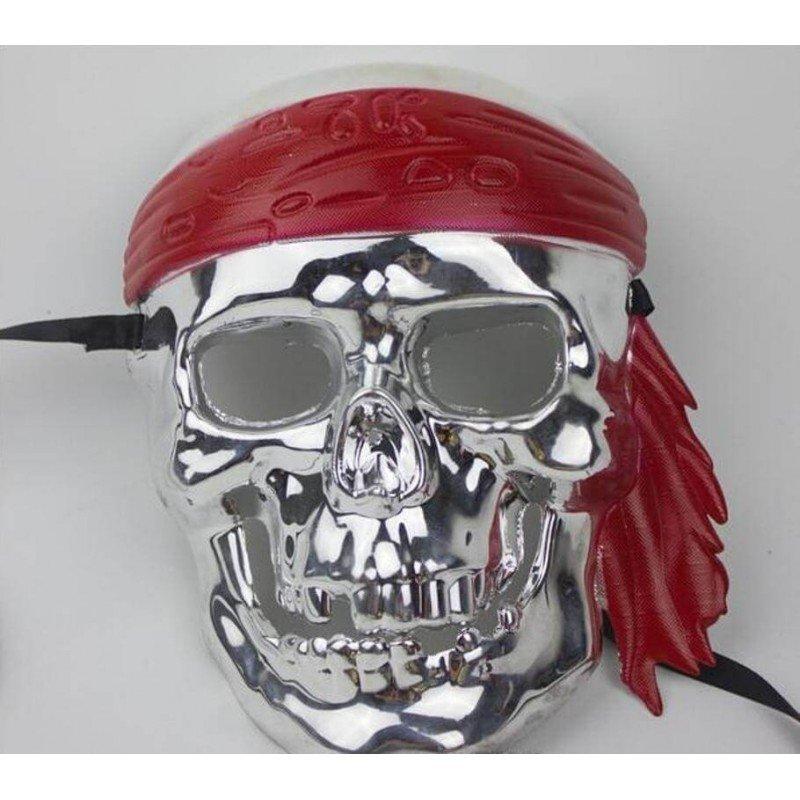 Vyriška sidabrinė pirato karnavalinė kaukė