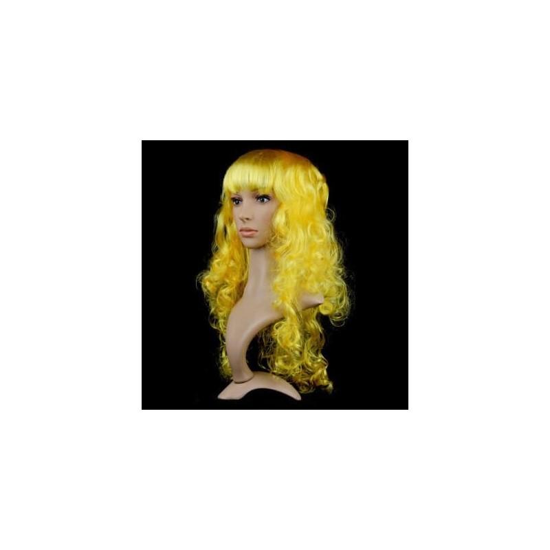 Ilgas geltonas garbanotas karnavalinis perukas